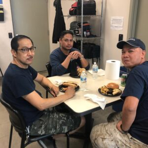 Distribution Centre employees enjoying a holiday lunch