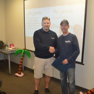 Employee receiving award