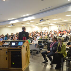 Employee meeting in lecture hall