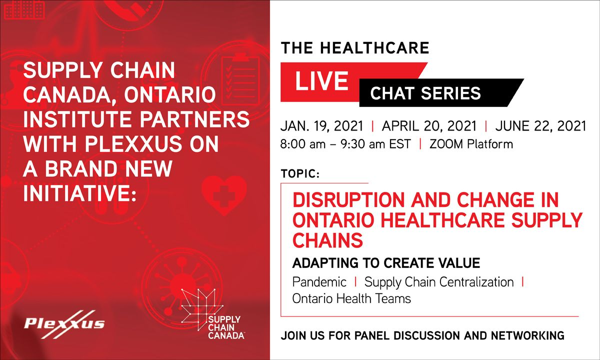 Supply Chain Canada Registration banner including times and dates to register for chat series
