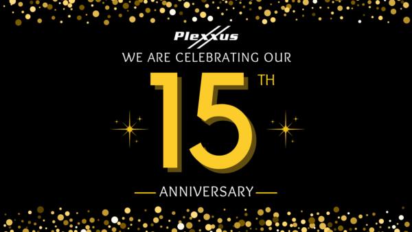 Plexxus banner, celebrating 15th anniversary